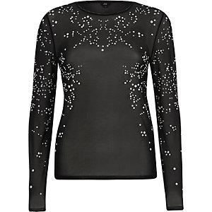 Black sheer faux pearl mesh long sleeve top