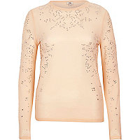 Beige sheer faux pearl embellished long sleev