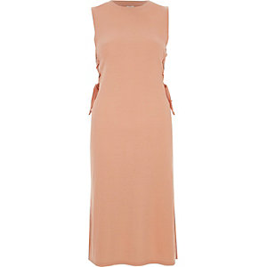Light pink lace-up side fitted dress