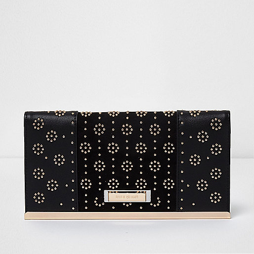Black studded foldout purse with pouchette
