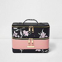Black floral print vanity case