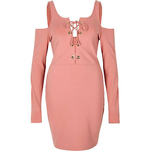 Pink lace-up cold shoulder bodycon dress