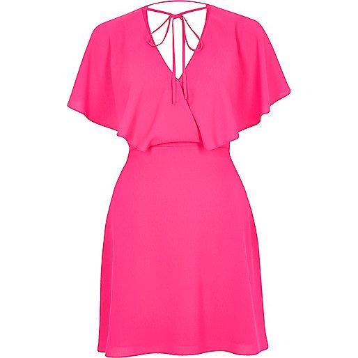 Pink tie neck cape dress
