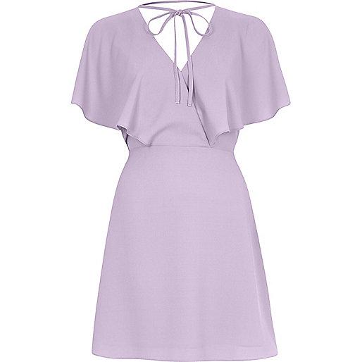 Light purple tie neck cape dress