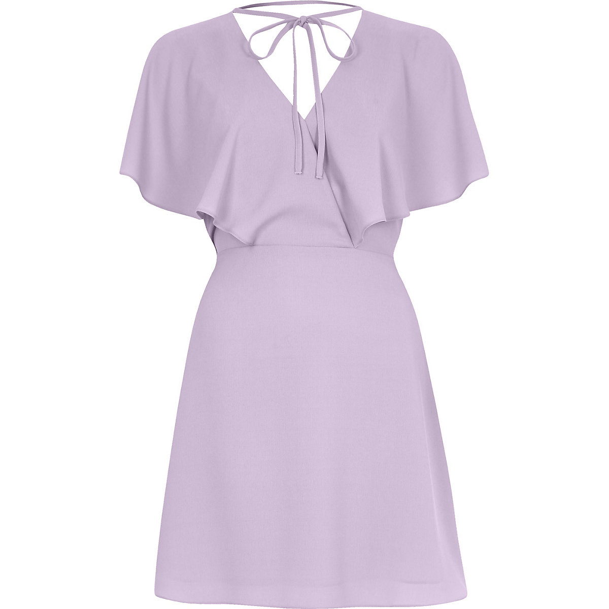 Light purple tie neck cape dress