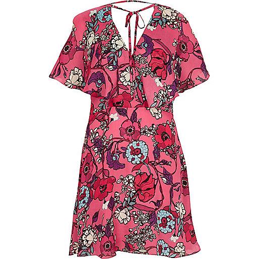 Pink floral print frill dress