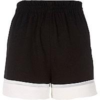 Black colour block shorts