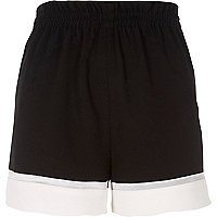 Black color block shorts
