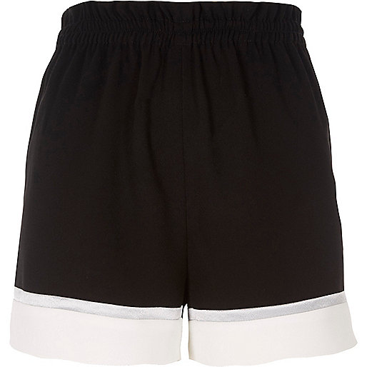 Black color block shorts