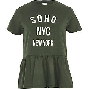 Khaki green print peplum hem T-shirt