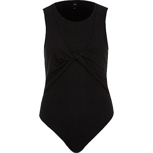 Black ribbed twist front bodysuit