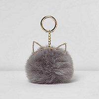 Grey pom pom cat ears keyring