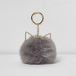 Grey pom pom cat ears keyring