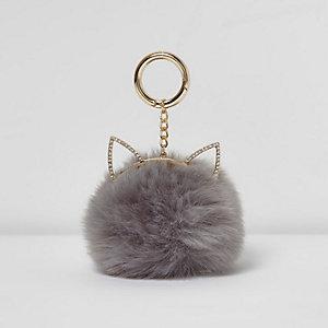 Porte-clés pompon gris oreilles de chat