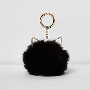 Porte-clés pompon noir oreilles de chat