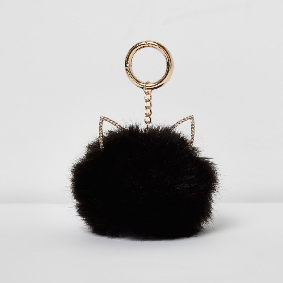 Zwarte sleutelhanger met pompon en kattenoren