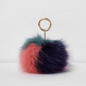 Roze sleutelhanger met meerkleurige pompon