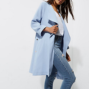 Petite light blue duster coat