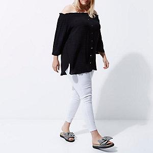 Plus – Schwarzes Bardot-Hemd