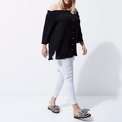 Plus black shirred bardot shirt