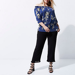 Plus blue floral print shirred bardot shirt