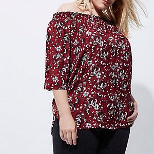 Plus – Chemise Bardot à fleurs rouge froncée