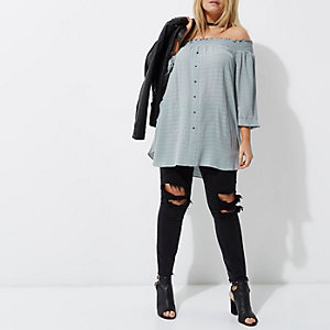 Plus green shirred bardot shirt