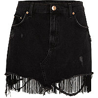 Black tassel hem distressed denim mini skirt