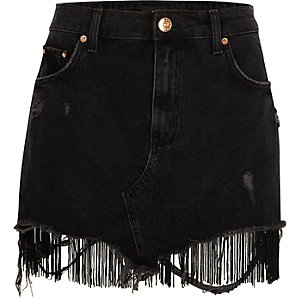 Black tassel hem distressed denim mini skirt