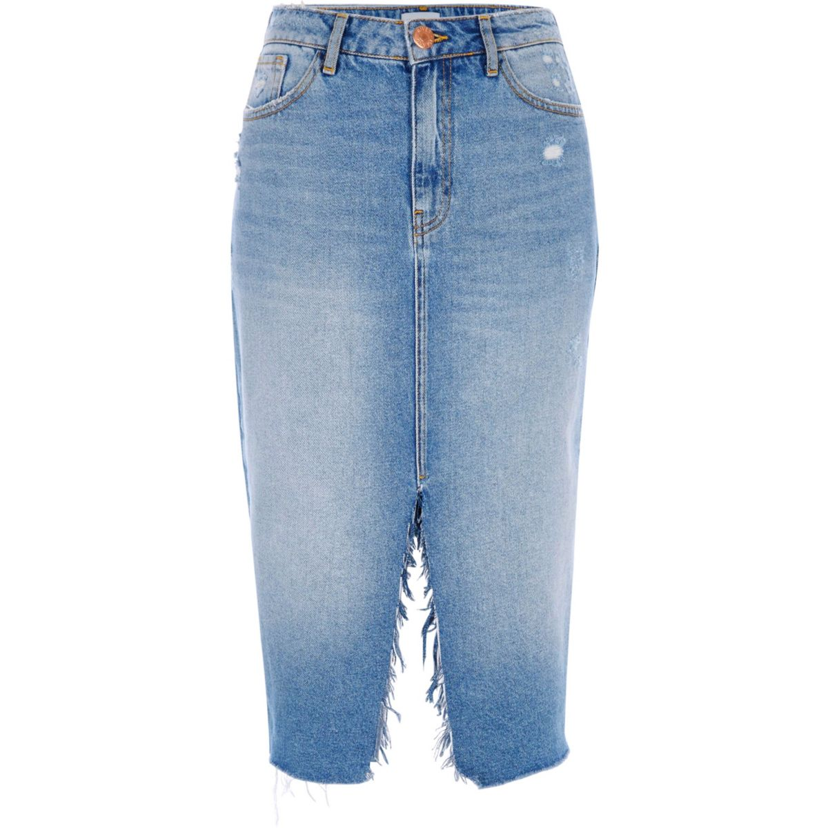 Mid blue split front midi denim skirt