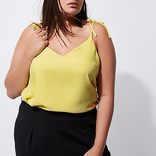Plus yellow bow shoulder cami top