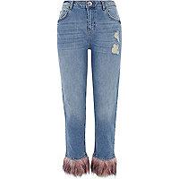 Mid blue fur hem distressed boyfriend jeans