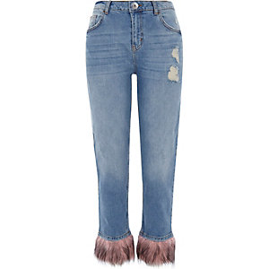 Mid blue fur hem distressed boyfriend jeans