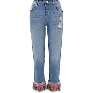 Middenblauwe distressed boyfriend jeans met zoom van bont