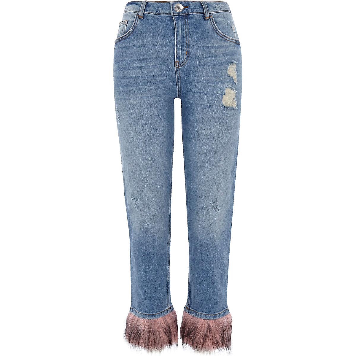 Blue faux fur hem distressed boyfriend jeans