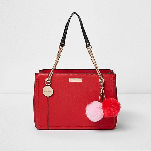 Red pom pom chain tote bag