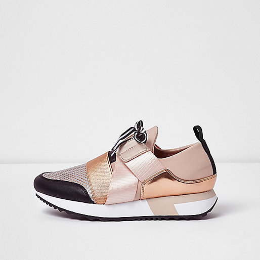 Rose gold metallic lace-up runner sneakers