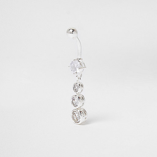 Silver tone diamante circle drop belly bar