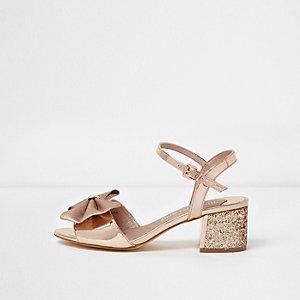 Gold bow wide fit glitter block heel sandals