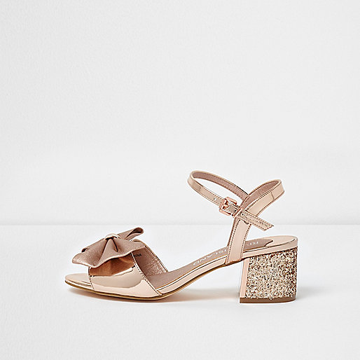 Gold bow wide fit glitter block heel sandals