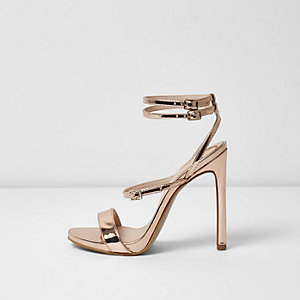 Gold wide fit metallic strappy sandals