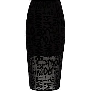 Black flock print mesh pencil skirt