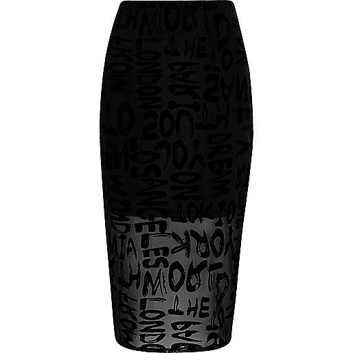 Black flock print mesh pencil skirt