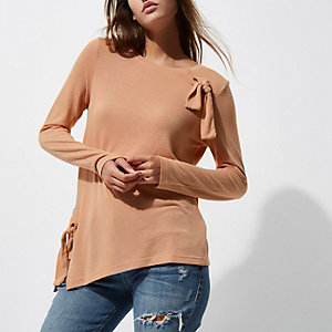 Brown bow front long sleeve top