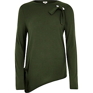Khaki green bow front long sleeve top