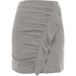 Mini-jupe gris chiné froncée à volants sur le devant