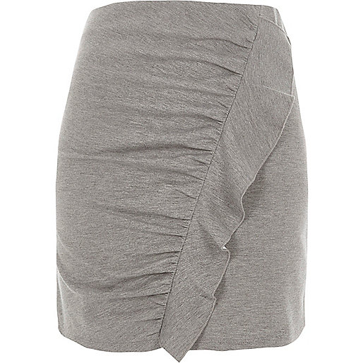 Grey marl frill front ruched mini skirt