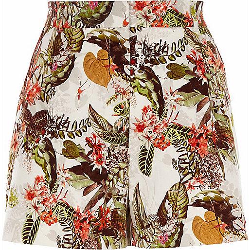 White tropical floral print smart shorts