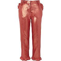 Roze metallic cropped broek met ruches aan de zoom