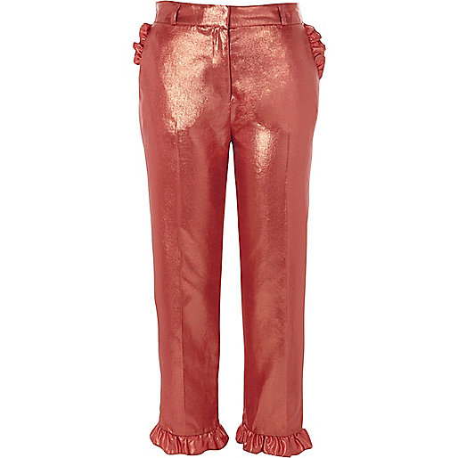 Pink metallic frill hem cropped pants